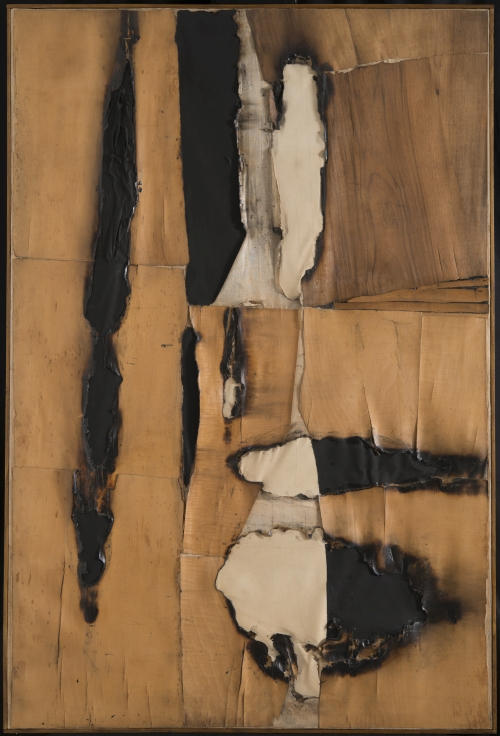 Alberto Burri. Combustione legno (Wood Combustion), 1957. Wood veneer, paper, combustion, acrylic, and Vinavil on canvas, 149.5 x 99 cm. Private collection, courtesy Galleria dello Scudo, Verona. © Fondazione Palazzo Albizzini Collezione Burri, Città di Castello/2015 Artist Rights Society (ARS), New York/SIAE, Rome.