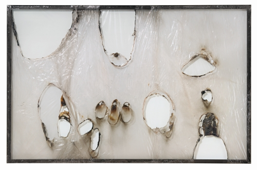 Alberto Burri. Grande bianco plastica (Large White Plastic), 1964. Plastic (PVC) and combustion on aluminum framework, 191.8 x 292.1 cm. Glenstone. © Fondazione Palazzo Albizzini Collezione Burri, Città di Castello/2015 Artists Rights Society (ARS), New York/SIAE, Rome. Photograph: Tim Nighswander/IMAGING4ART, courtesy Glenstone.