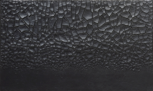 Alberto Burri. Grande cretto nero (Large Black Cretto), 1977. Acrylic and PVA on Celotex, 149.5 x 249.5 cm. Centre Pompidou, Paris, Musée national d'art moderne/Centre de création industrielle, Gift of the artist, 1978. © Fondazione Palazzo Albizzini Collezione Burri, Città di Castello/2015 Artists Rights Society (ARS), New York/SIAE, Rome. Photograph: © CNAC/MNAM/Dist. RMN-Grand Palais/Art Resource, New York.
