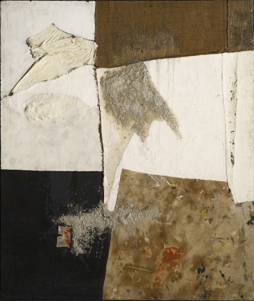 Alberto Burri. Nero bianco e sacco (Black White and Sack), c1954. Oil, fabric, burlap, pumice and PVA on canvas, 125 x 107 cm. Courtesy Galleria Tega, Milan. © Fondazione Palazzo Albizzini Collezione Burri, Città di Castello/2015 Artist Rights Society (ARS), New York/SIAE, Rome. Photograph: Paolo Vandrasch and Romina Bottega.