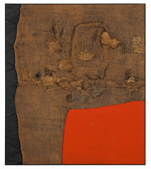 Alberto Burri. Sacco e rosso (Sack and Red), c1959. Burlap, thread, acrylic and PVA on black fabric, 150 x 130 cm. Private collection, London © Fondazione Palazzo Albizzini Collezione Burri, Città di Castello/2015. Artist Rights Society (ARS), New York/SIAE, Rome Photograph: Lucy Dawkins, London.