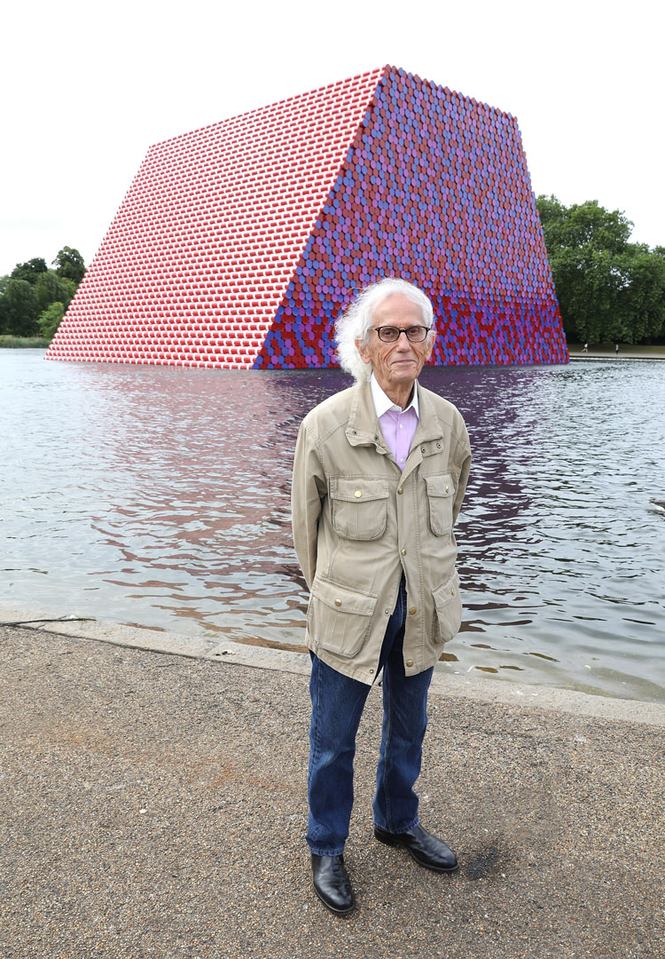 Christo in front of the London Mastaba, Hyde Park, London, 2018. Photo: Tim Whitby, Getty.