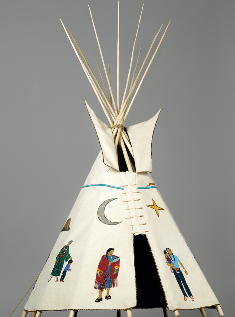 "Teri Greeves (Kiowa, born 1970). 21st Century Traditional: Beaded Tipi, 2010. Brain-tanned deer hide, charlotte-cut glass beads, seed beads, bugle beads, glass beads, sterling silver beads, pearls, shell, raw diamonds, hand-stamped sterling silver disks, hand-stamped copper disk, cotton cloth, nylon ""sinew"" rope, wood (pine, poplar, bubinga), 46 × 29 × 32 1/2 in (116.8 × 73.7 × 82.6 cm). Brooklyn Museum; Florence B. and Carl L. Selden Fund, 2008.28. Creative Commons-BY. Photo: Brooklyn Museum."