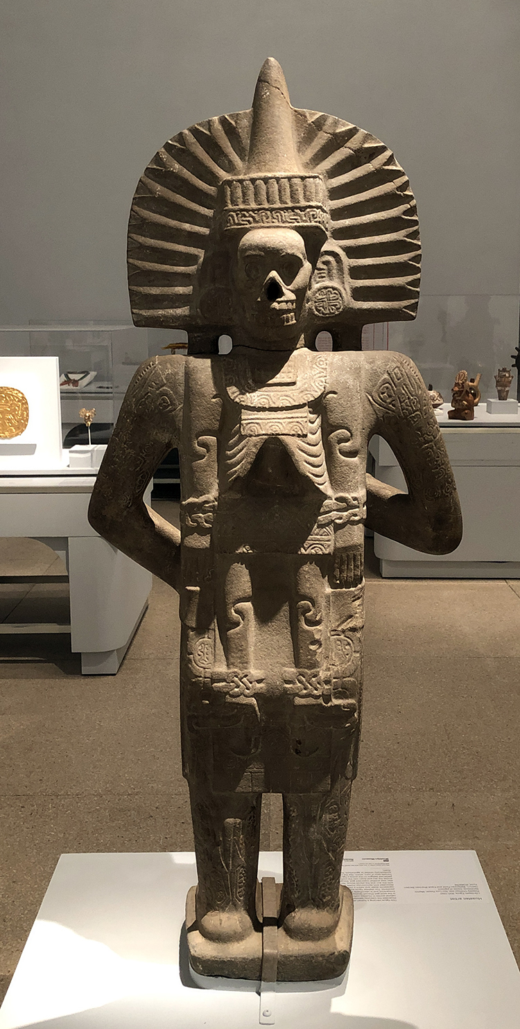 Huastec artist. Life-Death Figure, 900-1250. Sandstone, traces of pigment. Possibly Chilitujú Site, San Luis Potosi, Mexico. Photo: Antonio Rivera.