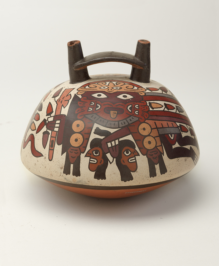 Nasca artist. Double-Spouted Vessel, 325–440. Ceramic, pigment, 6 × 7 × 7 in (15.2 × 17.8 × 17.8 cm). Brooklyn Museum; Gift of the Ernest Erickson Foundation, Inc., 86.224.15. Creative Commons-BY. Photo: Brooklyn Museum.