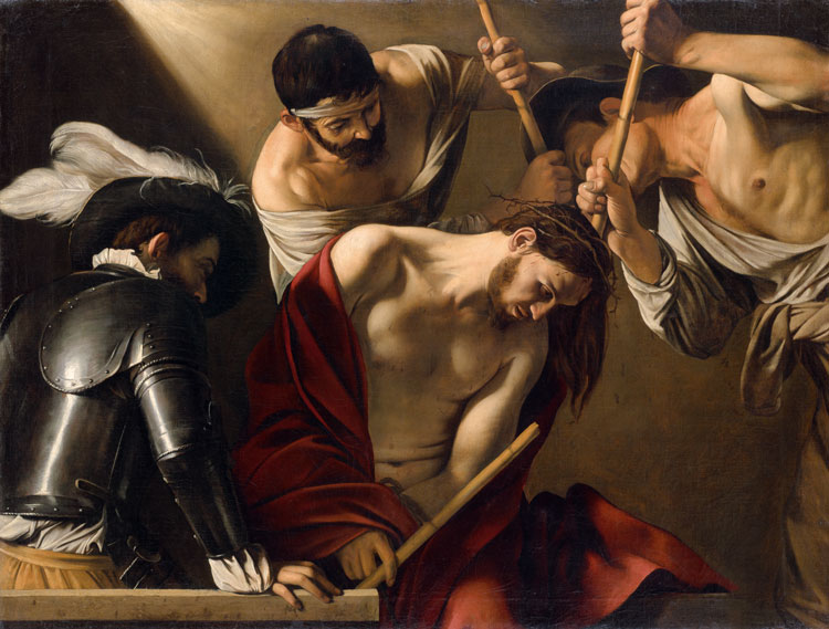 Michelangelo Merisi da Caravaggio, The Crowning with Thorns, Rome, c1603. Oil on canvas, 127 cm x 165.5 cm (50 x 65.2 in). Vienna, Kunsthistorisches Museum.
