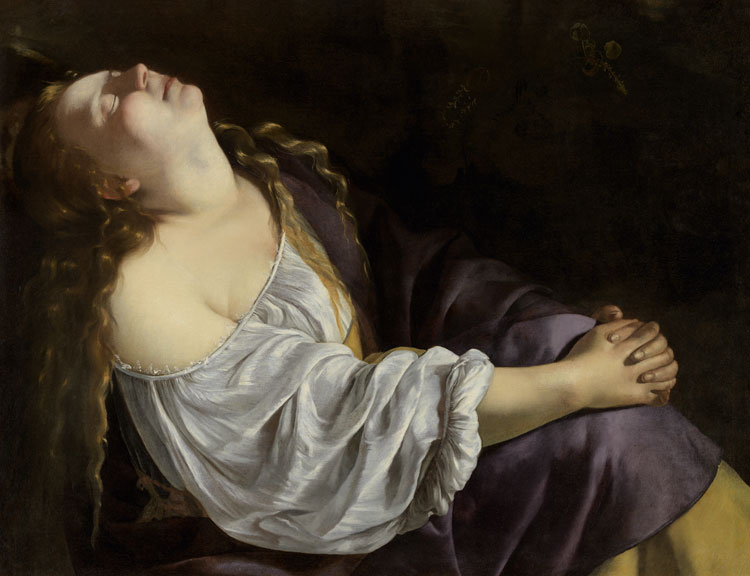 Artemisia Gentileschi, Mary Magdalen in Ecstasy, Rome or Venice, c1620/25 or c1630/35. Oil on canvas, 81 x 105 cm. Private European collection. Photo: Saint Louis Art Museum.