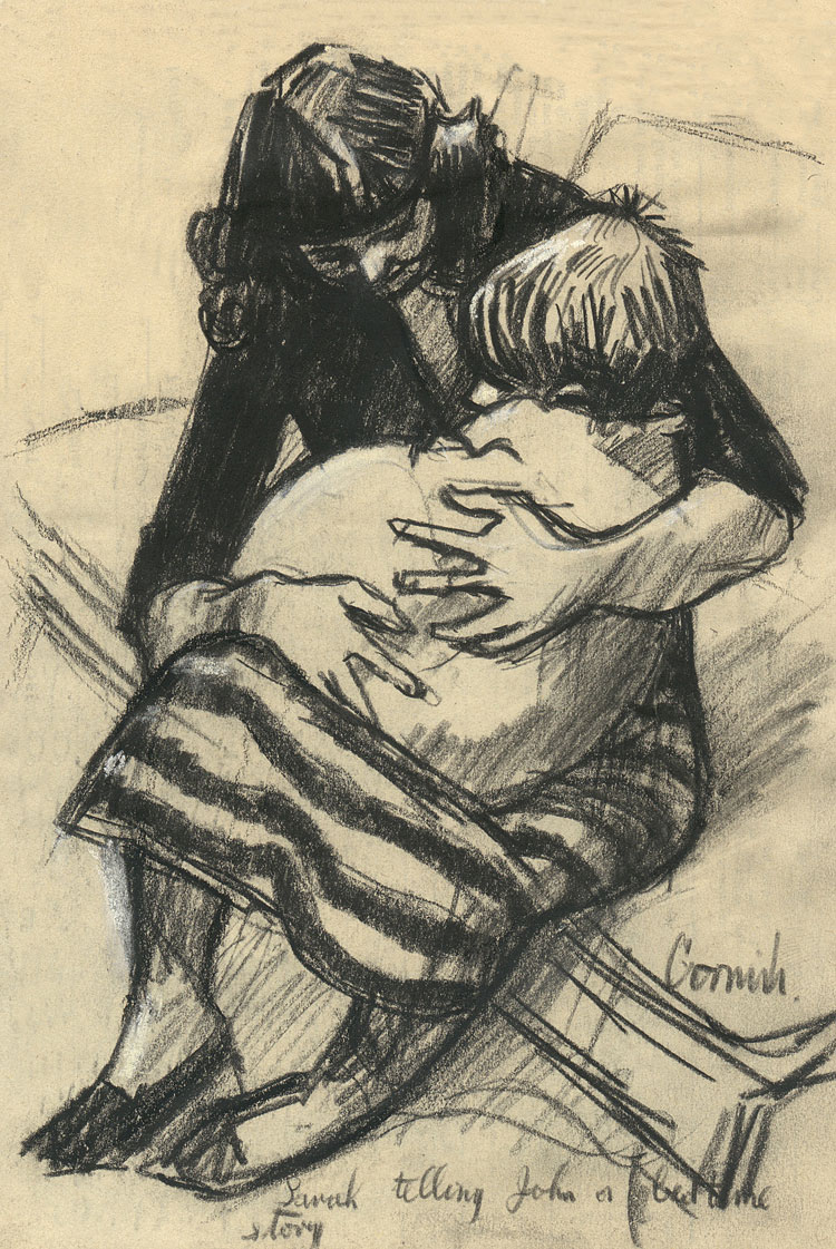 Norman Cornish. Sarah Telling John a Bedtime Story, undated. Charcoal on Paper, 23 x 16 cm. © Courtesy of Norman Cornish Estate.