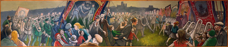 Norman Cornish. Durham Miners Gala Mural, undated. Oil on canvas, 1.8 x 9.1 m. © Courtesy of Norman Cornish Estate.