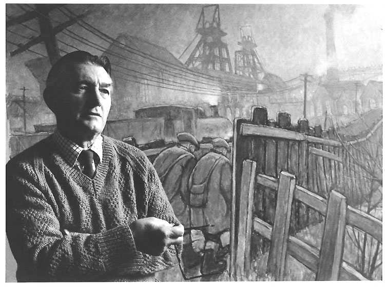 Norman Cornish in front of Pit Road picture. Date unknown.