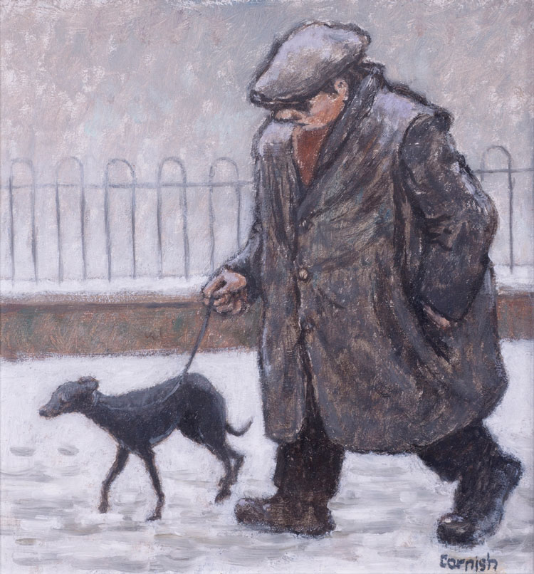 Norman Cornish. Man with Dog in Snow, undated. Oil on board, 21 x 19.5 cm. © Courtesy of Norman Cornish Estate.