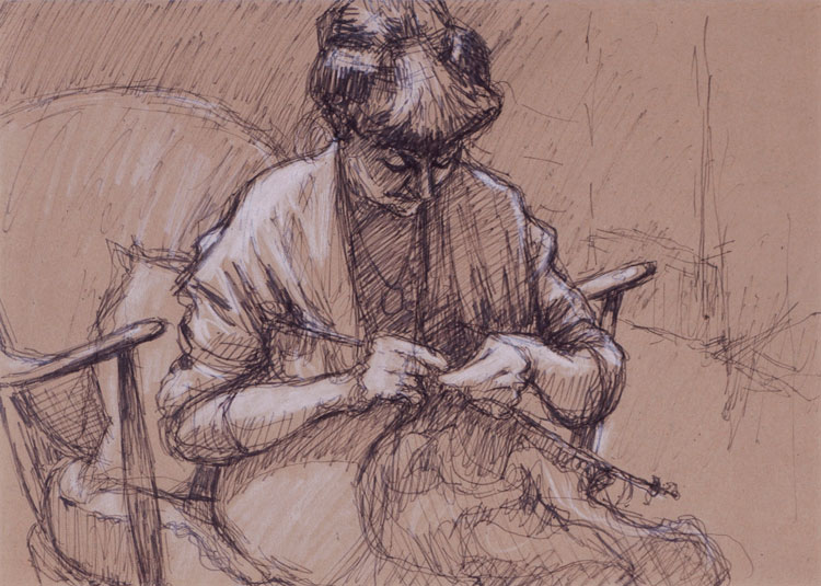 Norman Cornish. Sarah Knitting, undated. Ink and chalk on paper, 20 x 29 cm. © Courtesy of Norman Cornish Estate.