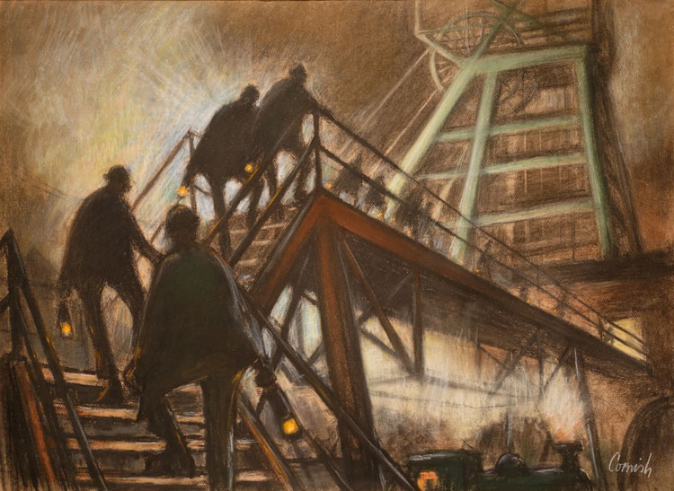Norman Cornish. Gantry at Night, undated. Pastel on paper, 53 x 74 cm. © Courtesy of Norman Cornish Estate.