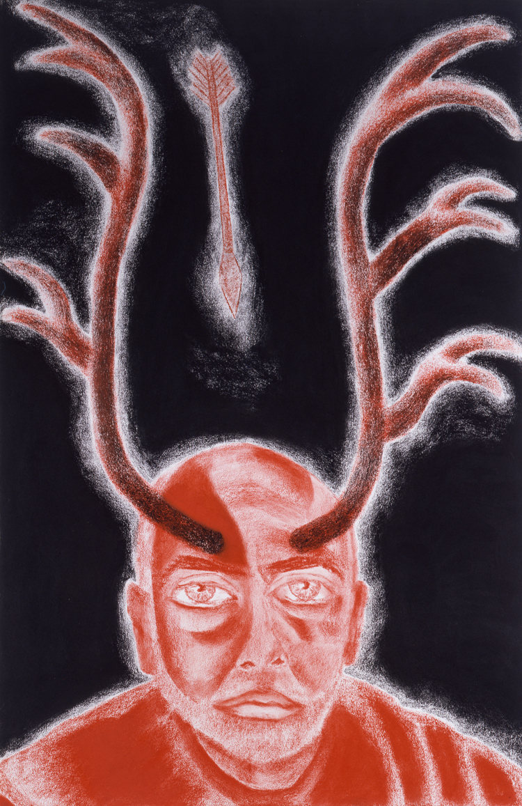 Francesco Clemente. Self-Portrait in White, Red and Black IX, 2008. Pastel on paper, 40 3/16 x 26 3/16 in (102 x 66.5 cm). Collection of the artist, New York. Courtesy of Francesco Clemente Studio. Photo: Tom Powel Imaging.