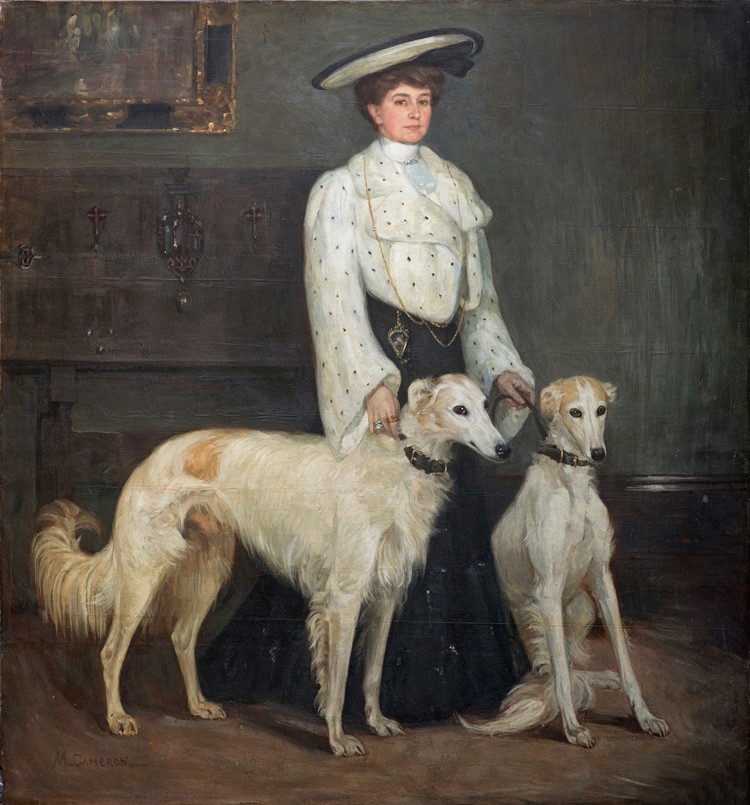 Mary Cameron. Mrs Blair and her Borzois, 1904. Private collection. Photo: Eion Johnston.