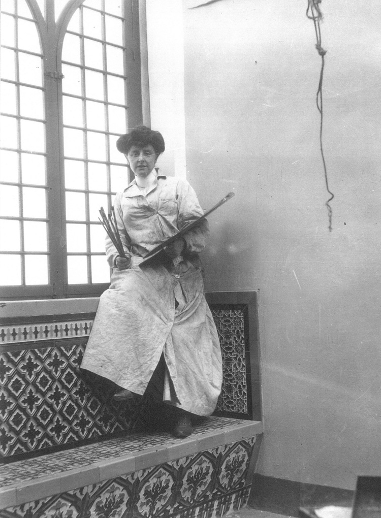 Unknown photographer. Mary Cameron with painting materials, Spain, c1909. Private collection.