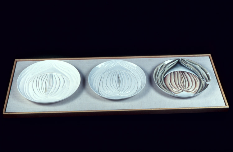 Judy Chicago, Hrosvitha Test Plates from The Dinner Party, 1974-1978. China paint on porcelain. Series of three test plates, 14 in diameter each, 1.25 in depth. © Judy Chicago/Artists Rights Society (ARS), New York. Photo © Donald Woodman/ARS, New York. Courtesy of the artist; Salon 94, New York; and Jessica Silverman Gallery, San Francisco.