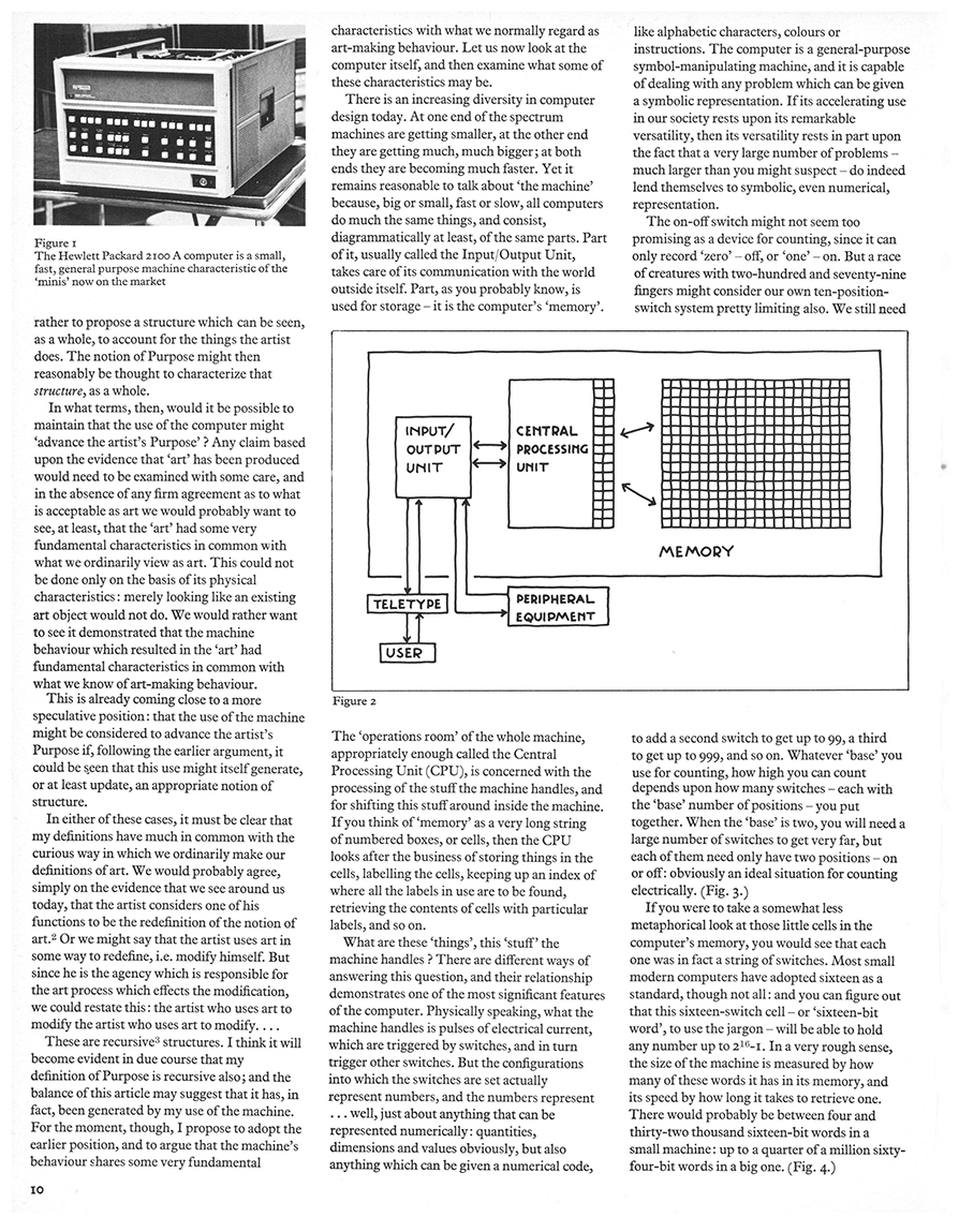 On Purpose: An enquiry into the possible roles of the computer in art. Studio International, Vol 187, No 962, January 1974, page 10.