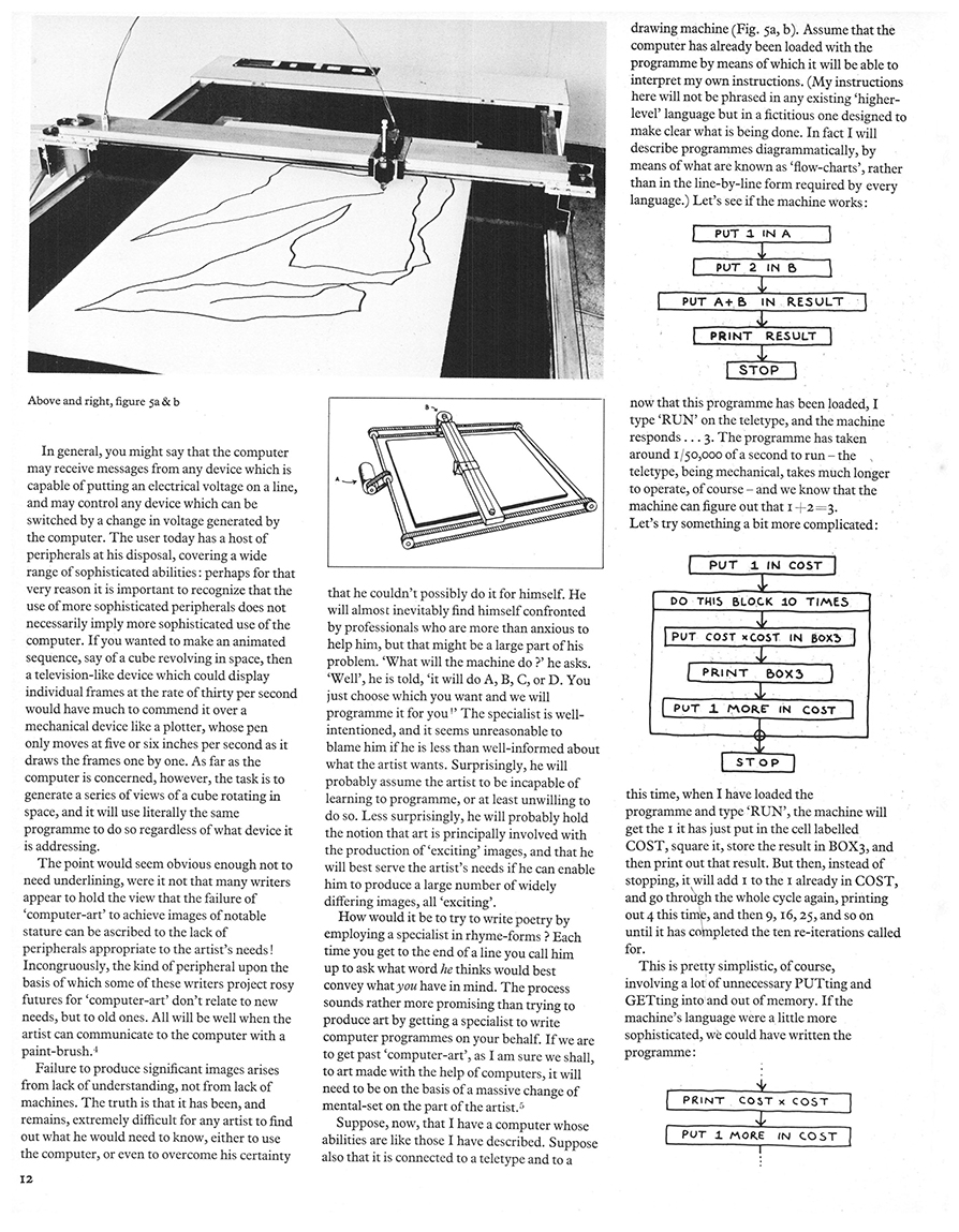 On Purpose: An enquiry into the possible roles of the computer in art. Studio International, Vol 187, No 962, January 1974, page 12.