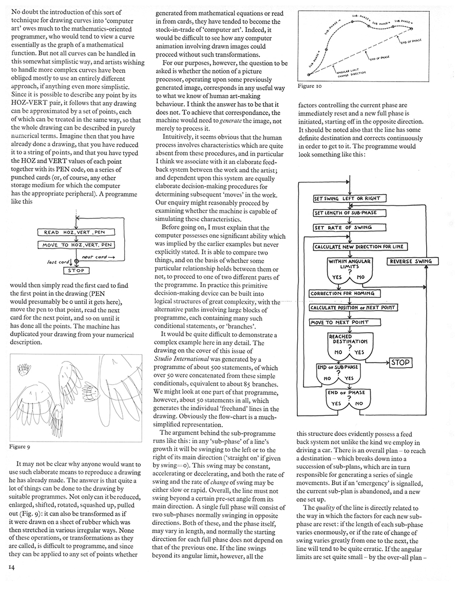 On Purpose: An enquiry into the possible roles of the computer in art. Studio International, Vol 187, No 962, January 1974, page 14.