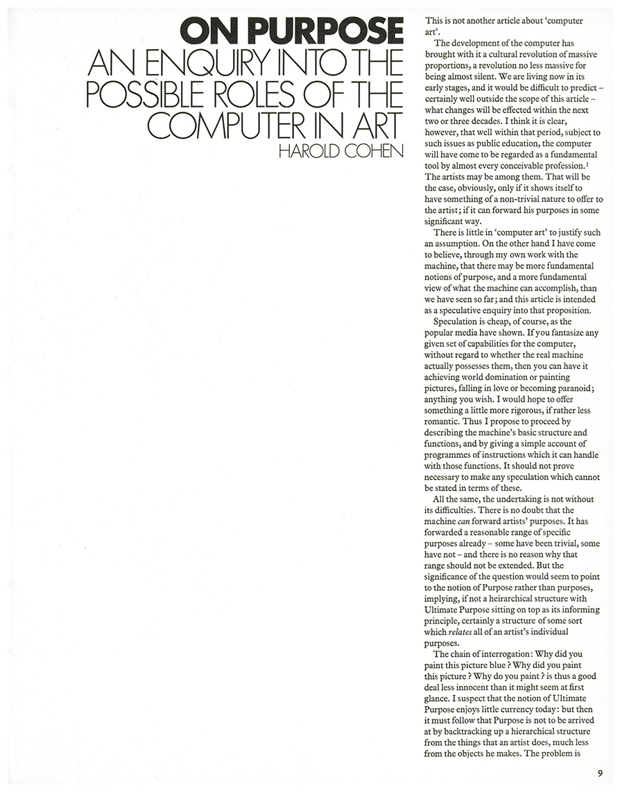 On Purpose: An enquiry into the possible roles of the computer in art. Studio International, Vol 187, No 962, January 1974, page 9.