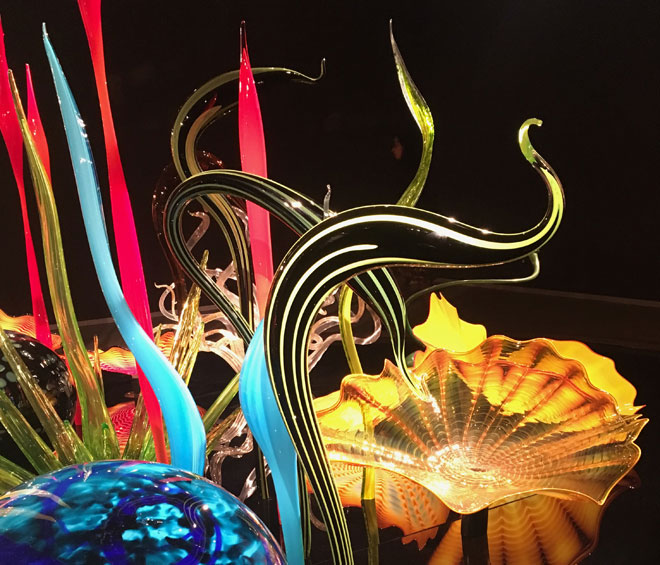 Chihuly's sheer brilliance and inventiveness in working with glass shine through in the magical creations on show here
