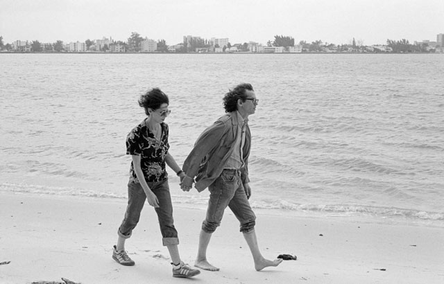 Christo and Jeanne-Claude working on the Surrounded Islands project. Miami, May 1983. Photo: Wolfgang Volz.