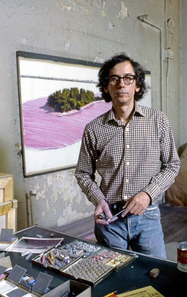 Christo in his studio working on a preparatory drawing for Surrounded Islands. New York, 1983. Photo: Wolfgang Volz.