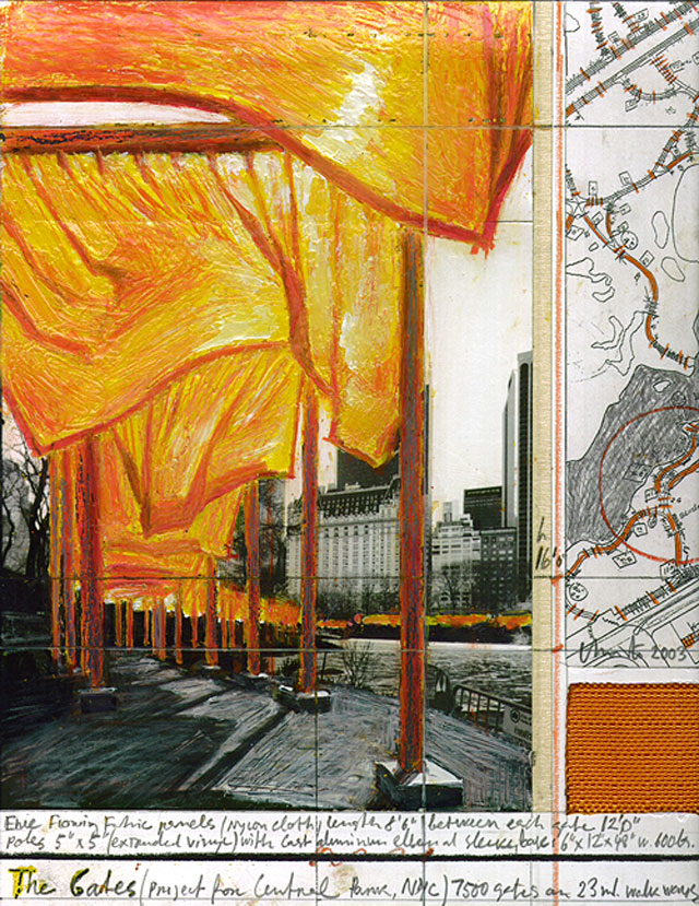 Christo. The Gates. Mixed media, 8.5 x 11 in. Private collection, NY.