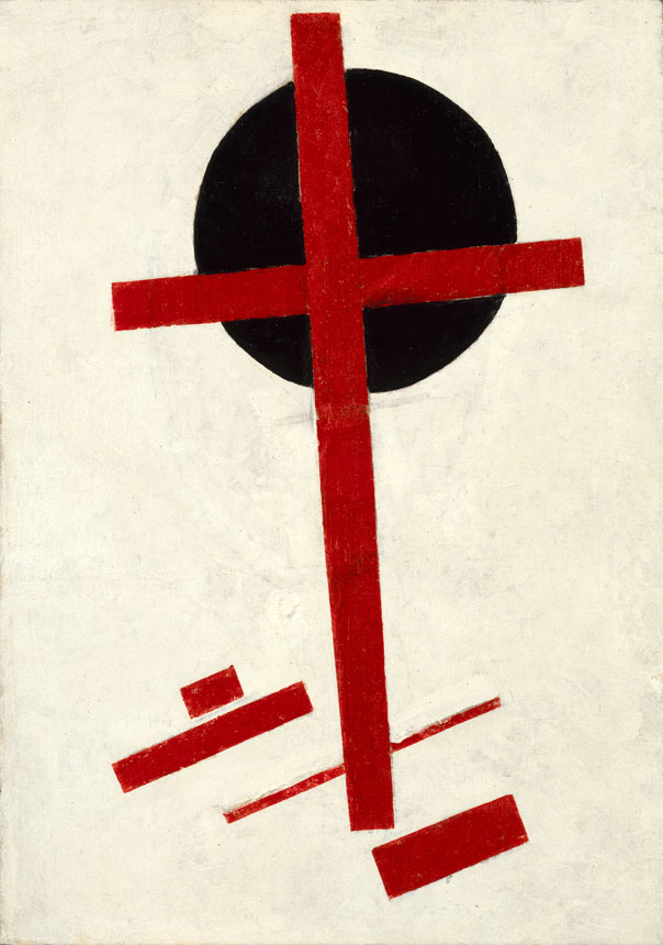 Kazimir Malevich. Mystic Suprematism (Red Cross on Black Circle), 1920-22. Oil on canvas, 72.5 x 51 cm. Stedelijk Museum Collection, Amsterdam.