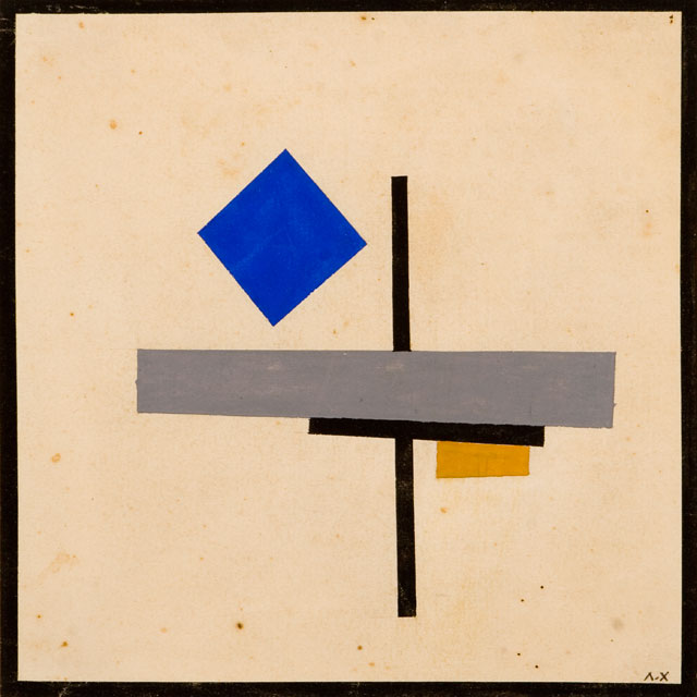 Lazar Khidekel. Suprematist Composition with Blue Square, 1921. Ink, watercolour, and graphite on paper, 7 ¼ x 7 ¼ in (18.4 x 18.4 cm). Lazar Khidekel Family Archives and Art Collection.