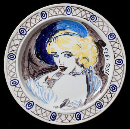 Vanessa Bell and Duncan Grant. Famous Women Dinner Service, 1932 (detail, Miss 1933). Courtesy PIANO NOBILE, Robert Travers (Works of Art) Ltd.