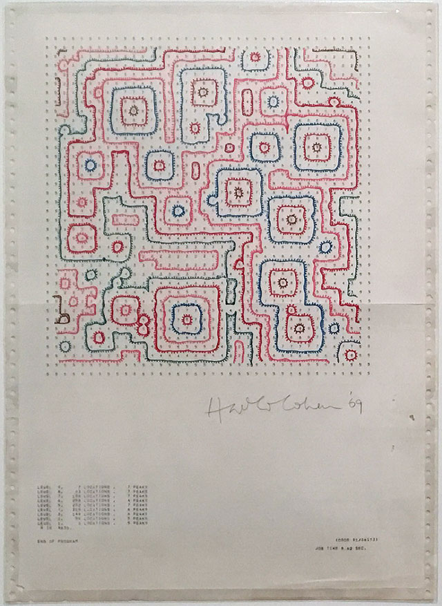 Drawing by Harold Cohen (1928-2016). Gallery view, Chance and Control: Art in the Age of Computers, V&A, London 2018. Photograph: Catherine Mason.