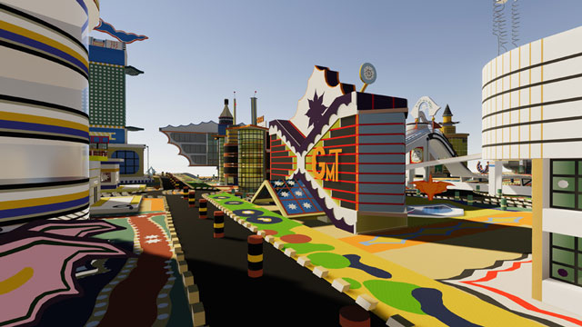 Screen capture of Bodys Isek Kingelez's Ville Fantôme: Virtual Reality Tour. Image courtesy of Third Pillar VR and Plastic Demo.