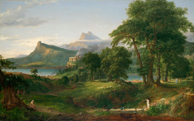 Thomas Cole. The Course of Empire: The Pastoral or Arcadian State, c1834. Oil on canvas, 99.7 × 160.6 cm. Courtesy of the New-York Historical Society. © Collection of The New-York Historical Society, New York / Digital image created by Oppenheimer Editions.
