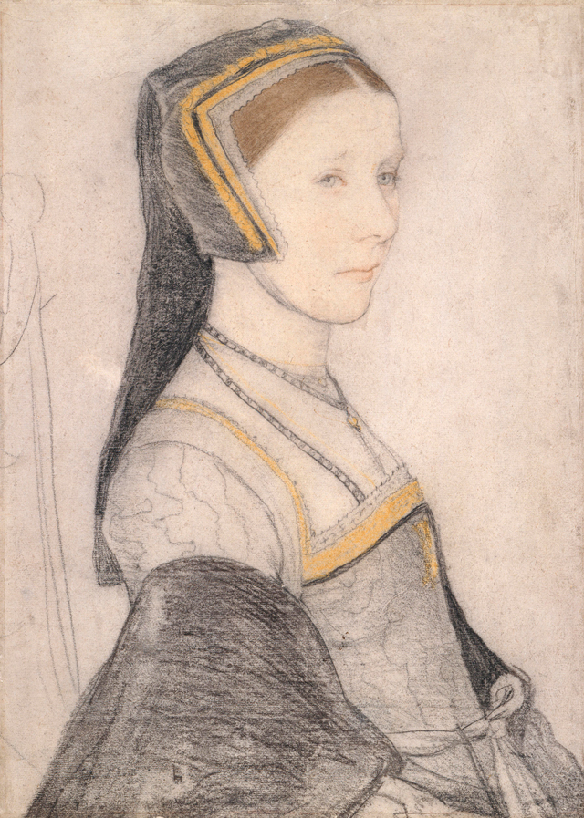Hans Holbein the Younger. Anne Cresacre, c1527. Black and coloured chalks on paper, 37.2 x 26.6 cm. Royal Collection Trust / © Her Majesty Queen Elizabeth II 2017.