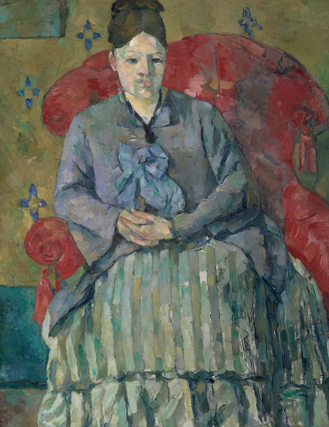 Paul Cézanne. Madame Cézanne in a Red Armchair, c1877. Museum of Fine Arts, Boston. Bequest of Robert Treat Paine, 2nd. Photograph © 2017 Museum of Fine Arts, Boston.