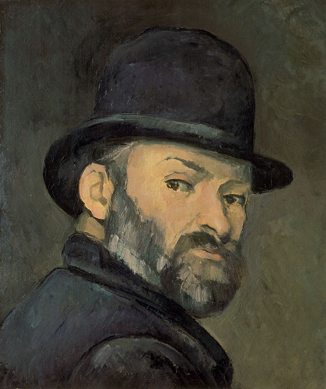 Paul Cézanne. Self-Portrait with Bowler Hat, 1885-6. Private collection.