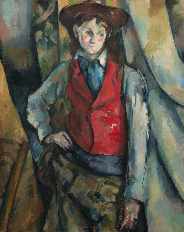 Paul Cézanne. Boy in a Red Waistcoat, 1888-90. National Gallery of Art, Washington DC. Collection of Mr and Mrs Paul Mellon, in Honour of the 50th Anniversary of the National Gallery of Art.