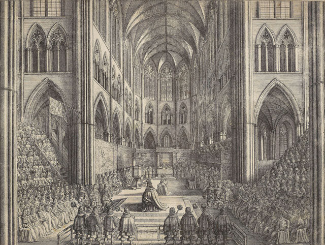 Wenceslaus Hollar, The Coronation of King Charles the II in Westminster Abbey the 23 of April 1661, 1662. Etching, 36 x 48 cm (sheet). Royal Collection Trust © Her Majesty Queen Elizabeth II.