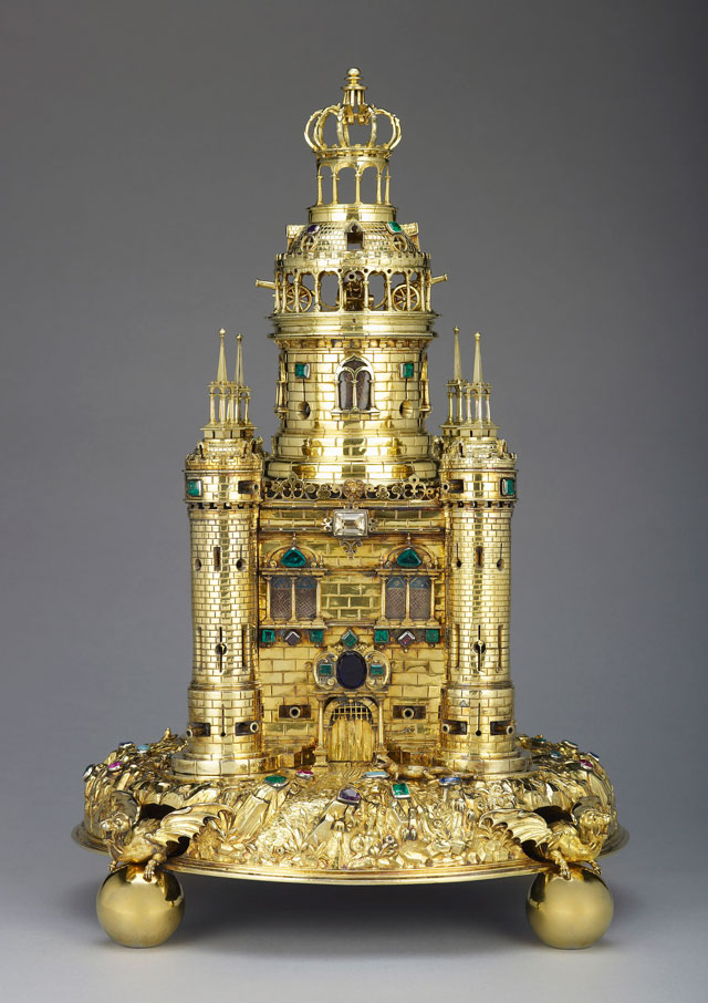 Johann Hass, The Exeter Salt, c1630. Silver gilt, enamel, mounted with almandine garnets, turquoises, sapphires, emeralds, rubies, amethysts, 45. 7 x 30.2 x 30.2 cm. Royal Collection Trust © Her Majesty Queen Elizabeth II.