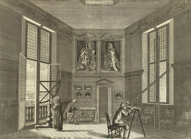 Francis Place, after Robert Thacker, Prospectus Intra Cameram Stellatam, 1676, showing astronomers at work in the Royal Observatory. Etching, 22.2 x 30.2 cm (plate mark); 25.4 x 35.1 cm (sheet). Royal Collection Trust © Her Majesty Queen Elizabeth II.