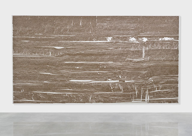 Dan Colen. A Little Wooden Ship, 2015. Steel studs on canvas, 106 x 200 in (269.2 x 508 cm). Photographed: Prudence Cuming Associates. Copyright Dan Colen.