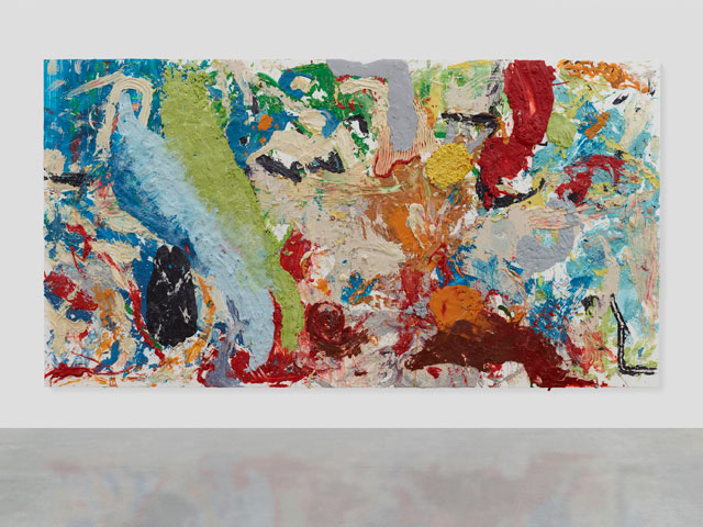 Dan Colen. Marbles in My Mouth, 2015. Chewing gum on canvas, 110 x 207 in (279.4 x 525.8 cm). Photographed: Prudence Cuming Associates. Copyright Dan Colen.