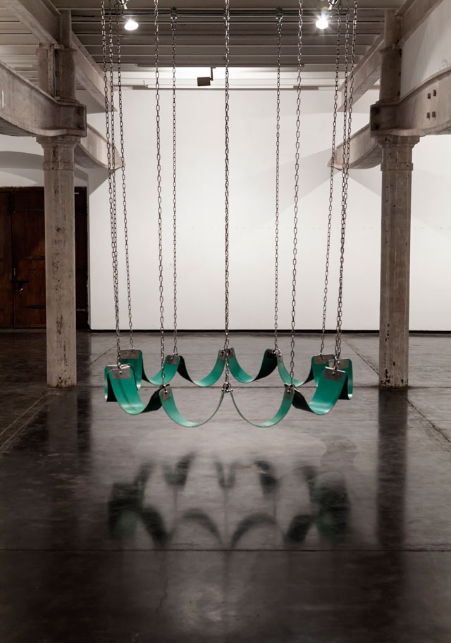 Neha Choksi and Rachelle Rojany Swing for friends (used in Faith in friction), 2017. Silicon rubber and stainless steel. Unique prop. Photograph: Choksi.