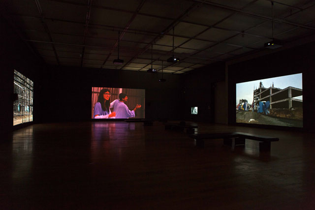 Neha Choksi. Faith in friction, 2017. 7-channel 4K video installation transferred to HD, each channel with stereo sound, 36 min loop. As installed at the Manchester Art Gallery. Photograph: Neha Choksi. Courtesy the artist and Project 88.