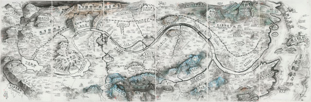 Qiu Zhijie. Map of Art and China after 1989: Theater of the World, 2017. Ink on paper, mounted to silk, six panels, 240 x 720 cm overall. Solomon R. Guggenheim Museum, New York, Photograph courtesy the artist.
