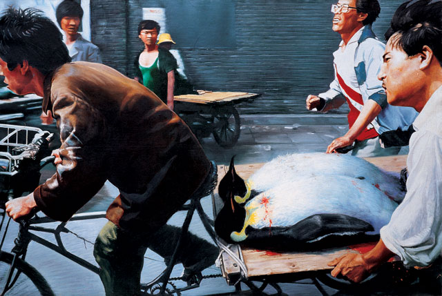 Wang Xingwei. New Beijing, 2001. Oil on canvas, 200 x 300 cm. M+ Sigg Collection, Hong Kong, By donation. Photograph: courtesy M+, Hong Kong.