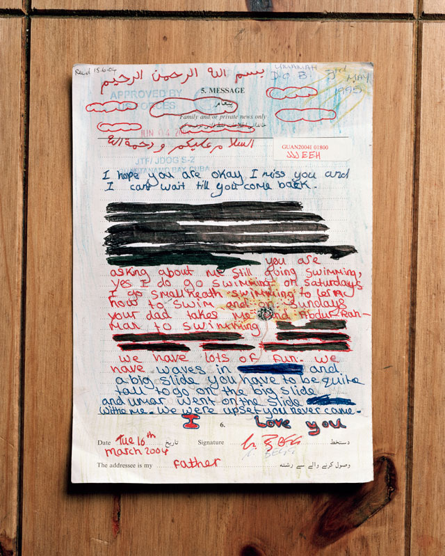 Edmund Clark, Original, hand-censored letter to a detainee from his daughter, from the series Guantanamo: If the Light Goes Out, 2009. © Edmund Clark.
