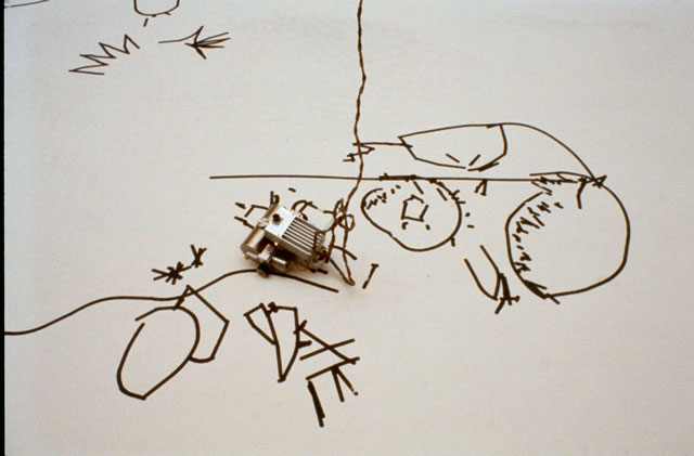 Harold Cohen's Drawing Machine in 1979. Courtesy Harold Cohen's archive.